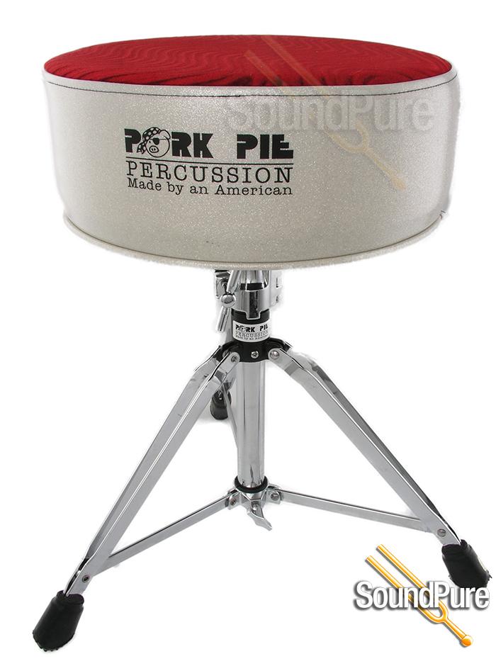 pork pie percussion round vinyl drum throne silver sparkle red swirl seat. Black Bedroom Furniture Sets. Home Design Ideas